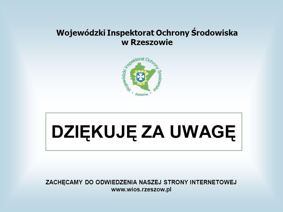 DZIĘKUJĘ ZA UWAGĘ Wojewódzki Inspektorat Ochrony Środowiska w Rzeszowie ZACHĘCAMY DO ODWIEDZENIA NASZEJ STRONY INTERNETOWEJ www.wios.rzeszow.pl