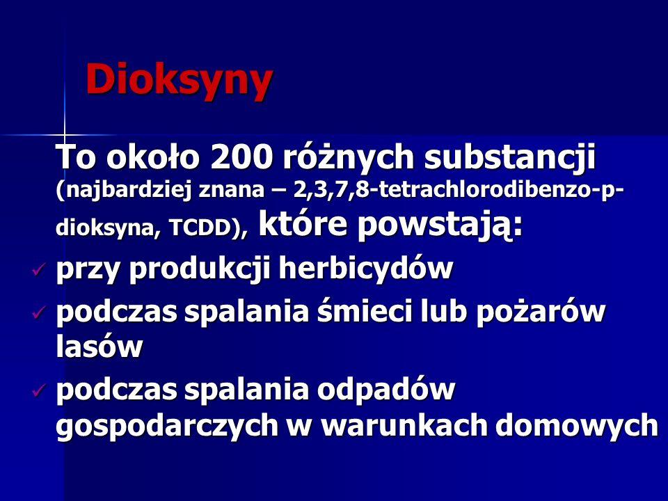 Dioksyny To około 200 różnych substancji (najbardziej znana – 2,3,7,8-tetrachlorodibenzo-p- dioksyna, TCDD), które powstają: przy produkcji herbicydów