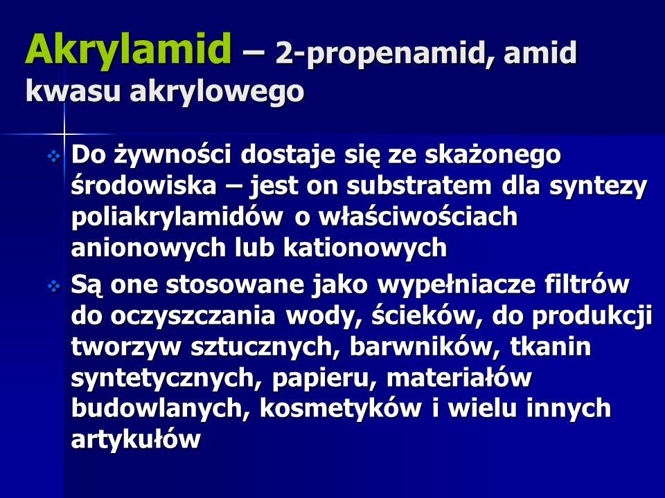Akrylamid – 2-propenamid, amid kwasu akrylowego Do żywności dostaje się ze skażonego środowiska – jest on substratem dla syntezy poliakrylamidów o wła