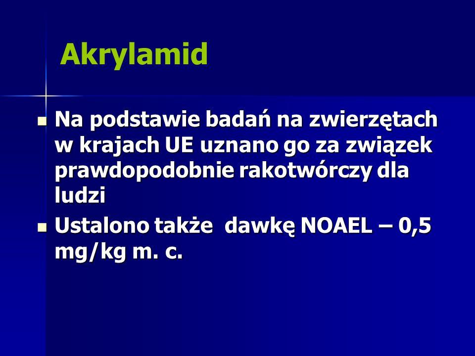 Akrylamid Na podstawie badań na zwierzętach w krajach UE uznano go za związek prawdopodobnie rakotwórczy dla ludzi Na podstawie badań na zwierzętach w