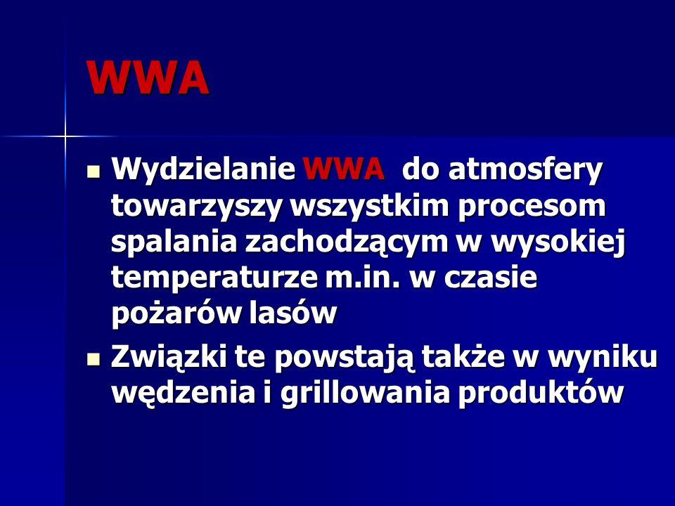 Do WWA najczęściej spotykanych w żywności należą: benzo(a)piren benzo(a)piren benzo(a)antracen benzo(a)antracen benzo(b)fluoranten benzo(b)fluoranten chryzen chryzen