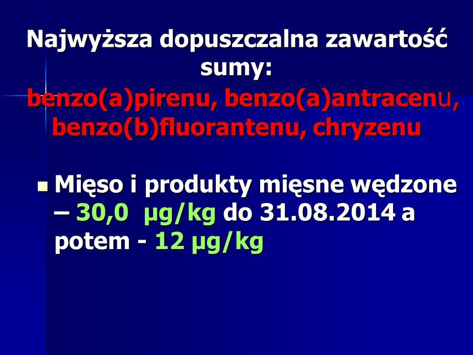 Najwyższa dopuszczalna zawartość sumy: benzo(a)pirenu, benzo(a)antracen u, benzo(b)fluorantenu, chryzenu Mięso i produkty mięsne wędzone – 30,0 μg/kg