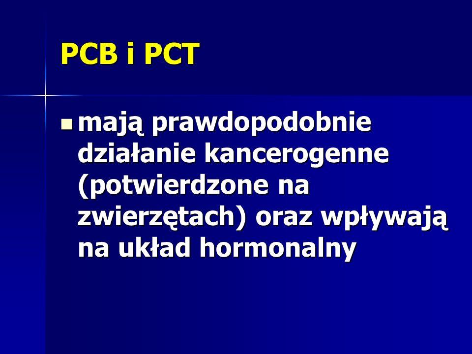 PCB i PCT mają prawdopodobnie działanie kancerogenne (potwierdzone na zwierzętach) oraz wpływają na układ hormonalny mają prawdopodobnie działanie kan
