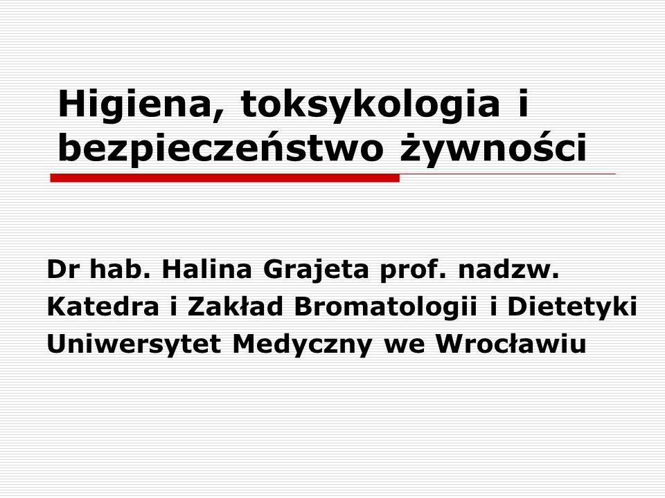 Higiena, toksykologia i bezpieczeństwo żywności Dr hab. Halina Grajeta prof. nadzw. Katedra i Zakład Bromatologii i Dietetyki Uniwersytet Medyczny we