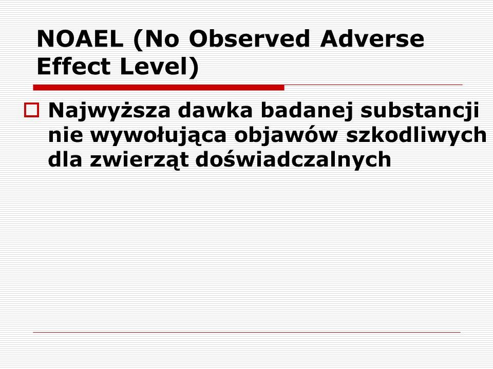 NOAEL (No Observed Adverse Effect Level) Najwyższa dawka badanej substancji nie wywołująca objawów szkodliwych dla zwierząt doświadczalnych