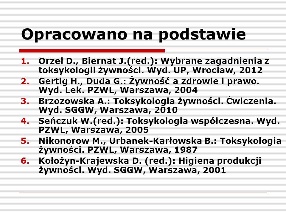 Opracowano na podstawie 1.Orzeł D., Biernat J.(red.): Wybrane zagadnienia z toksykologii żywności. Wyd. UP, Wrocław, 2012 2.Gertig H., Duda G.: Żywnoś