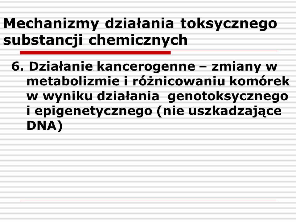 Mechanizmy działania toksycznego substancji chemicznych 6. Działanie kancerogenne – zmiany w metabolizmie i różnicowaniu komórek w wyniku działania ge