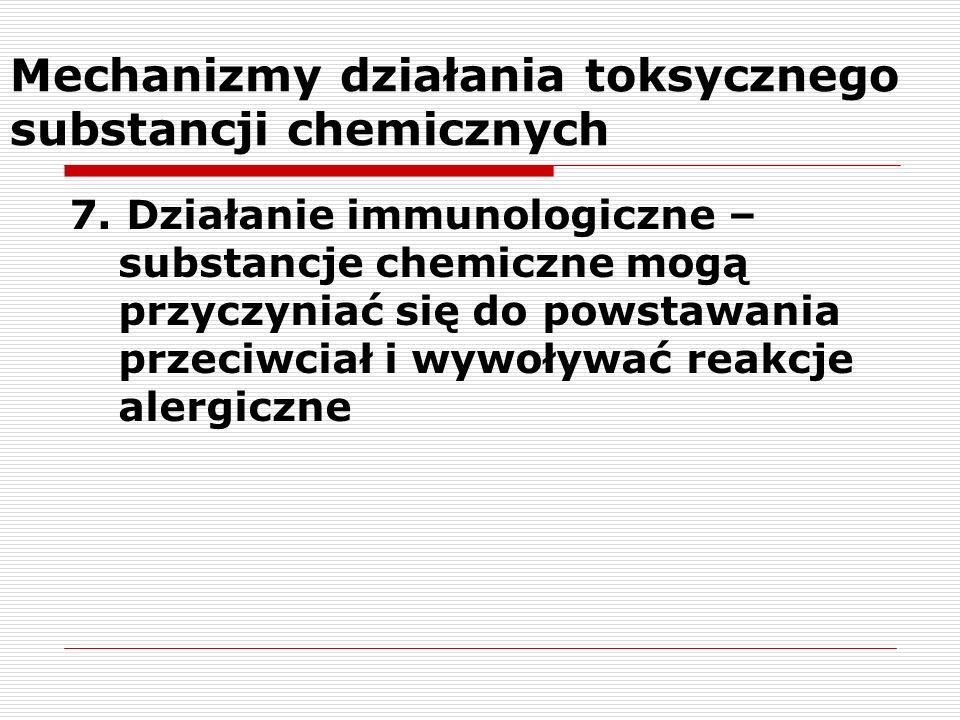 Mechanizmy działania toksycznego substancji chemicznych 7. Działanie immunologiczne – substancje chemiczne mogą przyczyniać się do powstawania przeciw
