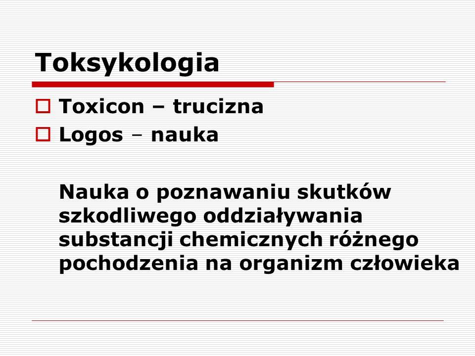 Toksykologia Toxicon – trucizna Logos – nauka Nauka o poznawaniu skutków szkodliwego oddziaływania substancji chemicznych różnego pochodzenia na organ