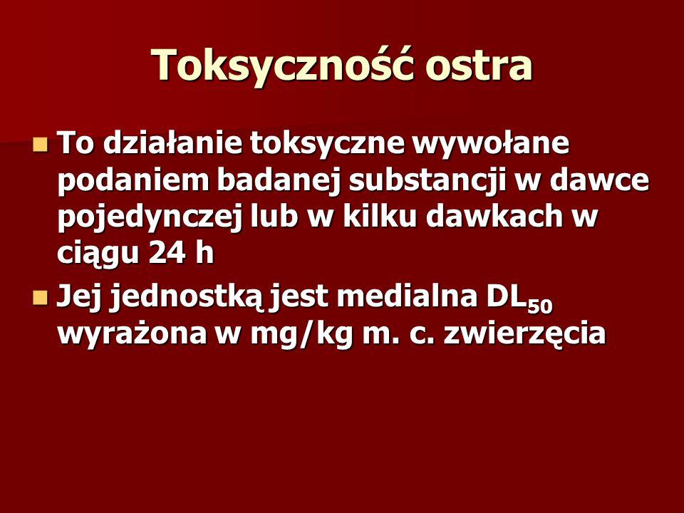 Toksyczność ostra To działanie toksyczne wywołane podaniem badanej substancji w dawce pojedynczej lub w kilku dawkach w ciągu 24 h To działanie toksyc