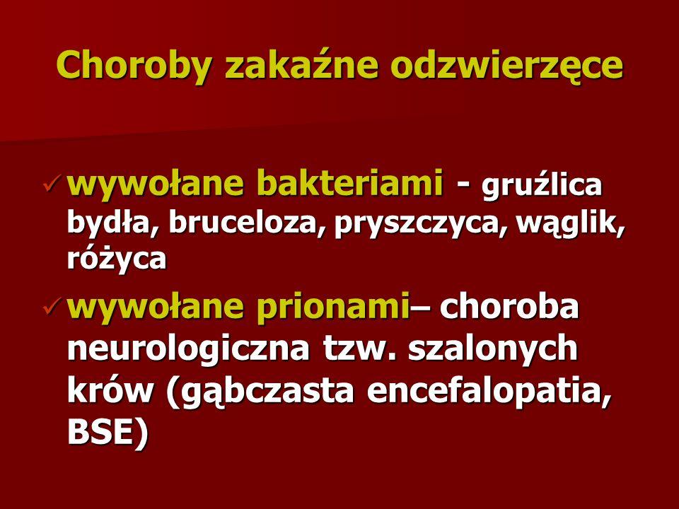 Choroby zakaźne odzwierzęce wywołane bakteriami - gruźlica bydła, bruceloza, pryszczyca, wąglik, różyca wywołane bakteriami - gruźlica bydła, bruceloza, pryszczyca, wąglik, różyca wywołane prionami – choroba neurologiczna tzw.