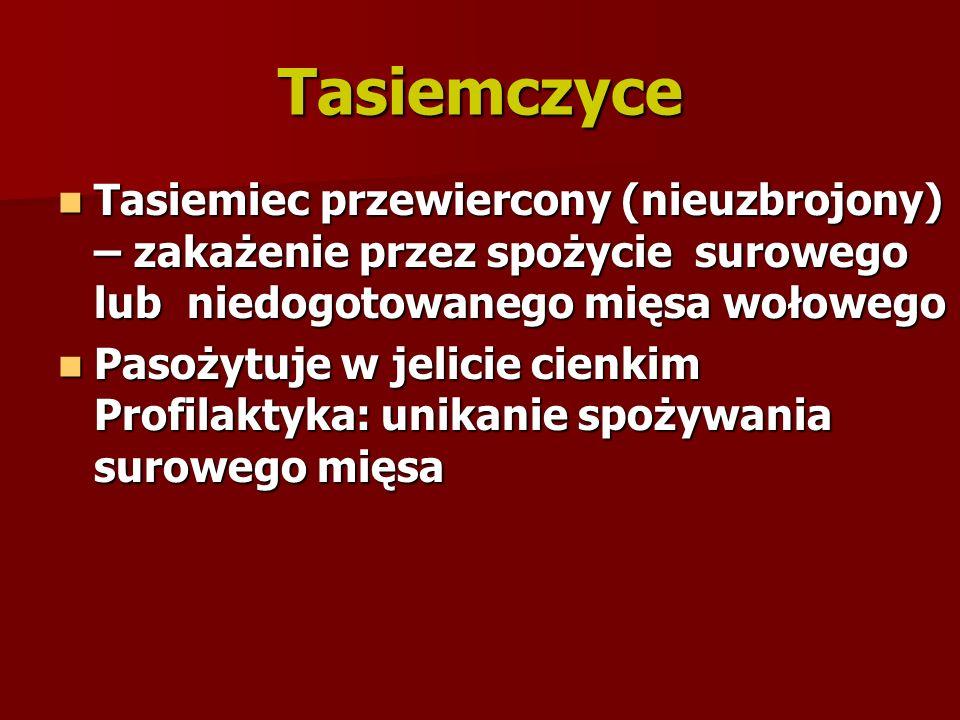 Tasiemczyce Tasiemiec przewiercony (nieuzbrojony) – zakażenie przez spożycie surowego lub niedogotowanego mięsa wołowego Tasiemiec przewiercony (nieuz