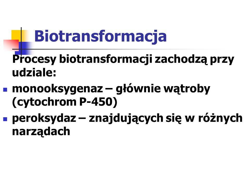 Biotransformacja Reakcje metabolizmu ksenobiotyków w organizmie zachodzą w 2 fazach: I faza obejmuje reakcje: hydroksylacji, utleniania, redukcji, hydrolizy II faza - sprzęgania