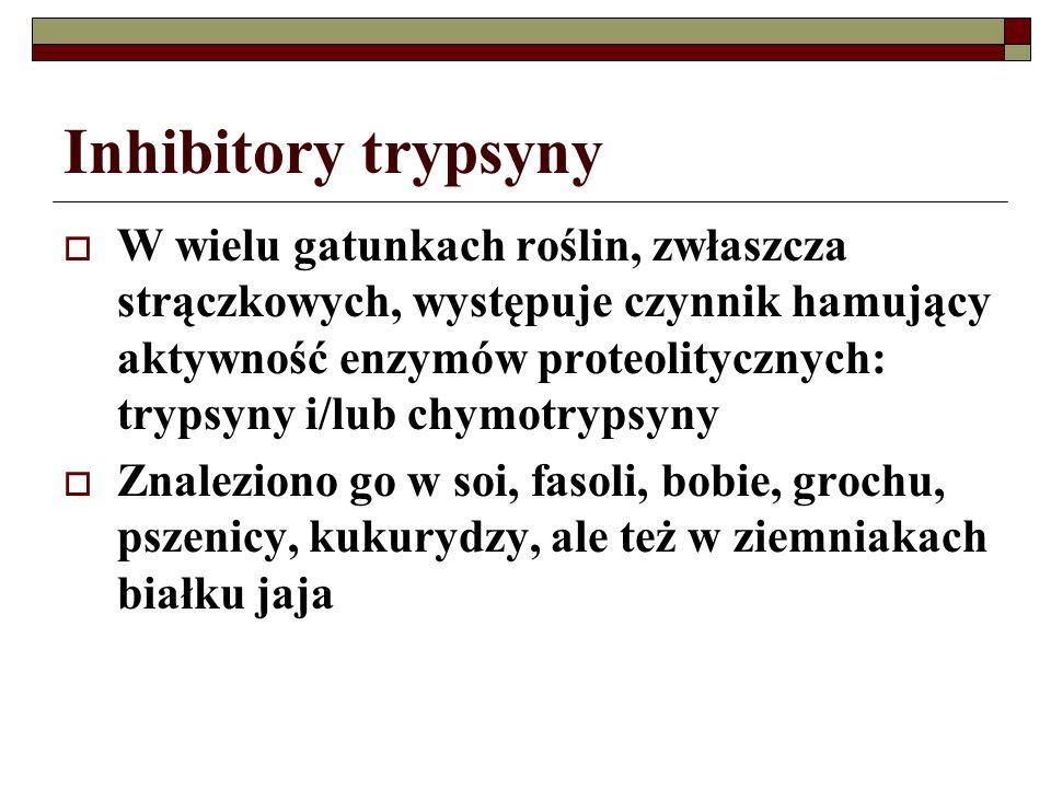 Inhibitory trypsyny W wielu gatunkach roślin, zwłaszcza strączkowych, występuje czynnik hamujący aktywność enzymów proteolitycznych: trypsyny i/lub ch