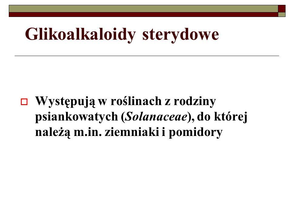 Glikoalkaloidy sterydowe Występują w roślinach z rodziny psiankowatych (Solanaceae), do której należą m.in. ziemniaki i pomidory