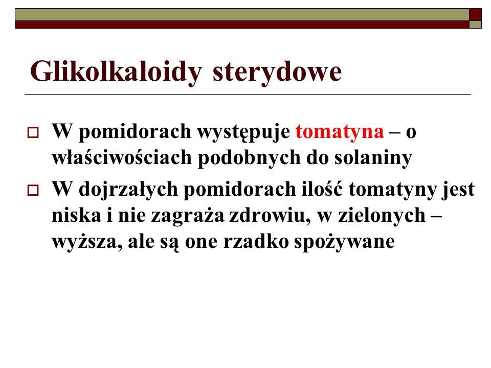 Glikolkaloidy sterydowe W pomidorach występuje tomatyna – o właściwościach podobnych do solaniny W dojrzałych pomidorach ilość tomatyny jest niska i n