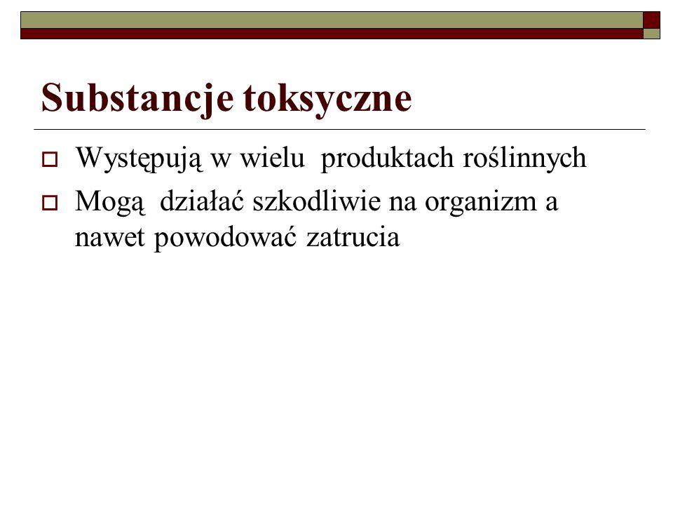 Glikozydy cyjanogenne Cyjanowodór (HCN) występuje w niektórych roślinach związany z resztami cukrowymi (glikozydy), z których w wyniku hydrolizy kwaśnej lub enzymatycznej ulega uwolnieniu