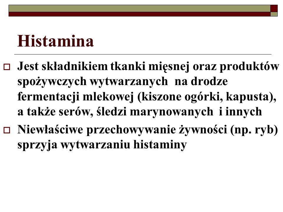 Histamina Jest składnikiem tkanki mięsnej oraz produktów spożywczych wytwarzanych na drodze fermentacji mlekowej (kiszone ogórki, kapusta), a także se