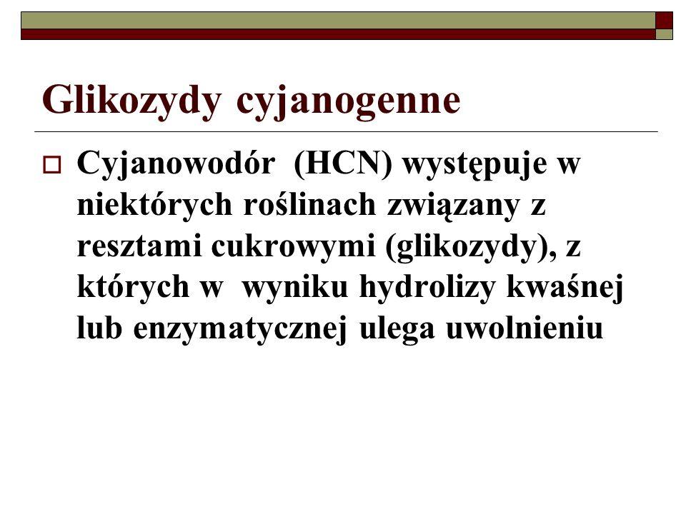 Glikozydy cyjanogenne Cyjanowodór (HCN) występuje w niektórych roślinach związany z resztami cukrowymi (glikozydy), z których w wyniku hydrolizy kwaśn