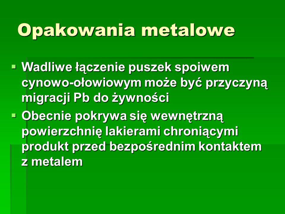 Opakowania metalowe Wadliwe łączenie puszek spoiwem cynowo-ołowiowym może być przyczyną migracji Pb do żywności Wadliwe łączenie puszek spoiwem cynowo