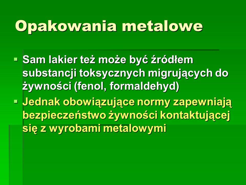 Opakowania metalowe Sam lakier też może być źródłem substancji toksycznych migrujących do żywności (fenol, formaldehyd) Sam lakier też może być źródłe