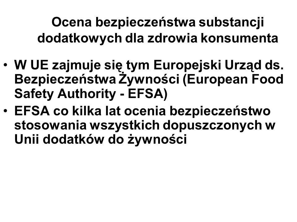 Ocena bezpieczeństwa substancji dodatkowych dla zdrowia konsumenta W UE zajmuje się tym Europejski Urząd ds. Bezpieczeństwa Żywności (European Food Sa