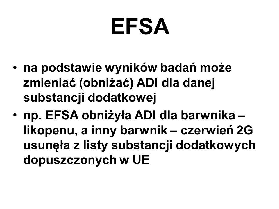 EFSA na podstawie wyników badań może zmieniać (obniżać) ADI dla danej substancji dodatkowej np.
