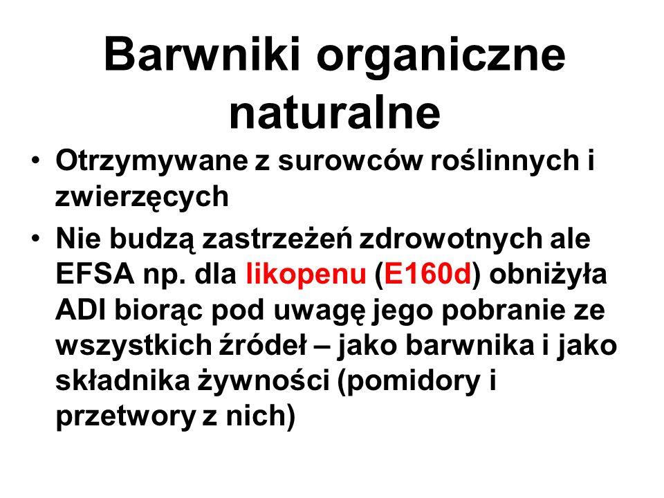 Barwniki organiczne naturalne Otrzymywane z surowców roślinnych i zwierzęcych Nie budzą zastrzeżeń zdrowotnych ale EFSA np. dla likopenu (E160d) obniż