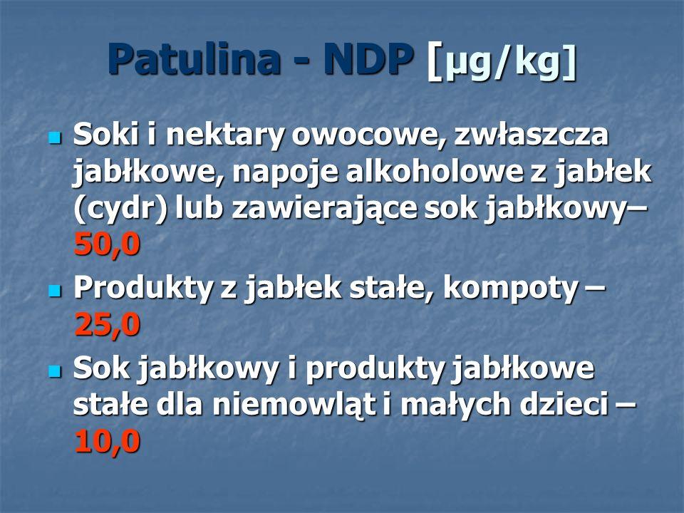 Patulina - NDP [ μg/kg] Soki i nektary owocowe, zwłaszcza jabłkowe, napoje alkoholowe z jabłek (cydr) lub zawierające sok jabłkowy– 50,0 Soki i nektar