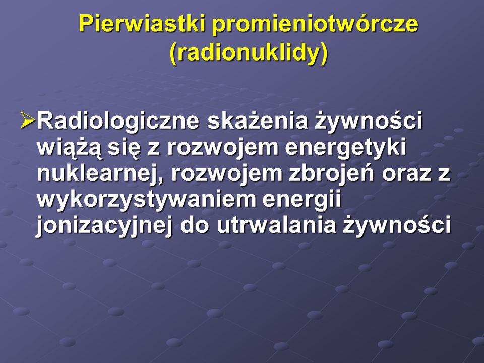 Pierwiastki promieniotwórcze (radionuklidy) Radiologiczne skażenia żywności wiążą się z rozwojem energetyki nuklearnej, rozwojem zbrojeń oraz z wykorz