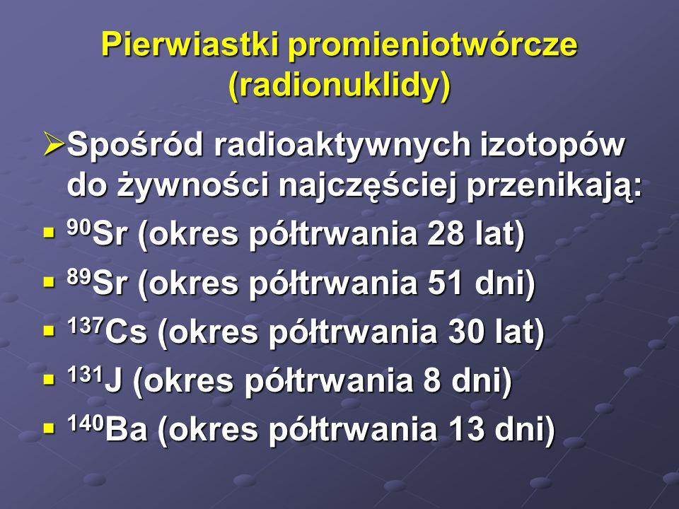 Pierwiastki promieniotwórcze (radionuklidy) Spośród radioaktywnych izotopów do żywności najczęściej przenikają: Spośród radioaktywnych izotopów do żyw
