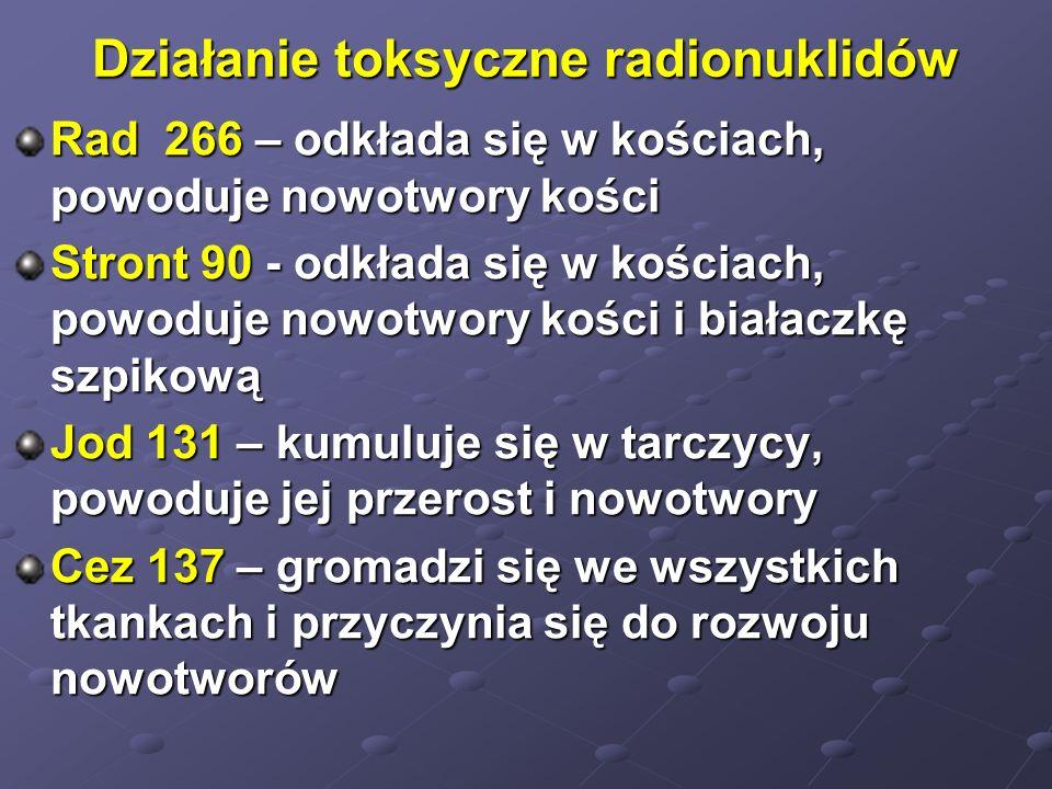Działanie toksyczne radionuklidów Rad 266 – odkłada się w kościach, powoduje nowotwory kości Stront 90 - odkłada się w kościach, powoduje nowotwory ko