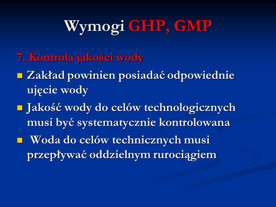 Wymogi GHP, GMP 7. Kontrola jakości wody Zakład powinien posiadać odpowiednie ujęcie wody Zakład powinien posiadać odpowiednie ujęcie wody Jakość wody