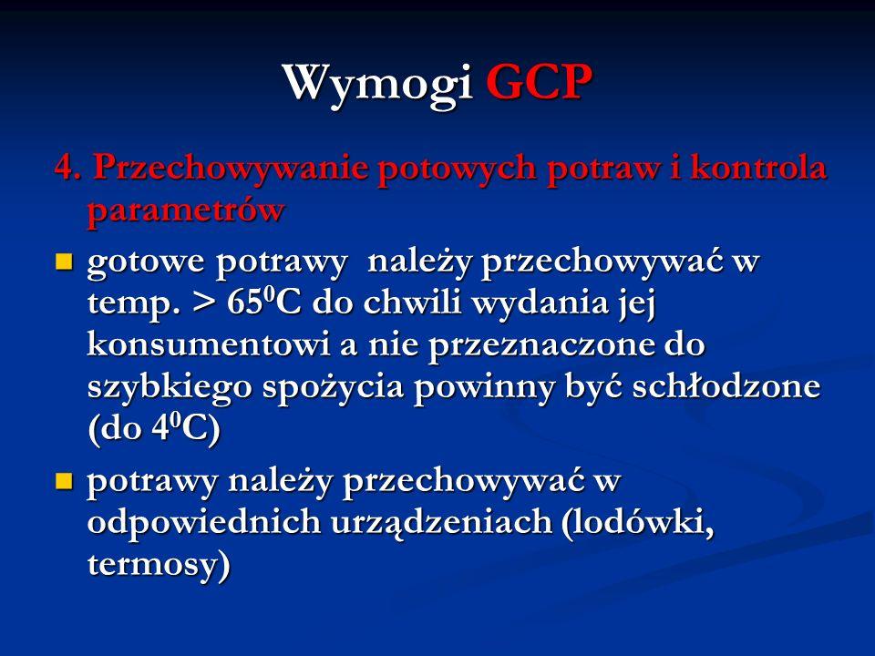 Wymogi GCP 4. Przechowywanie potowych potraw i kontrola parametrów gotowe potrawy należy przechowywać w temp. > 65 0 C do chwili wydania jej konsument