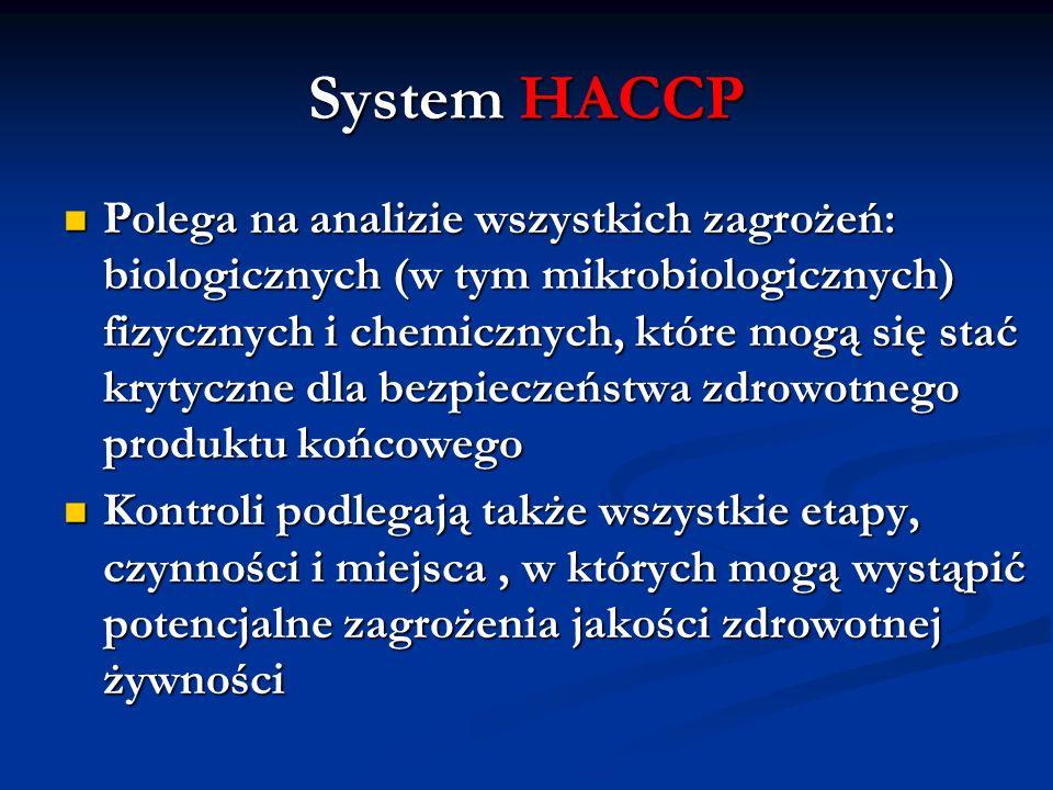 System HACCP Polega na analizie wszystkich zagrożeń: biologicznych (w tym mikrobiologicznych) fizycznych i chemicznych, które mogą się stać krytyczne