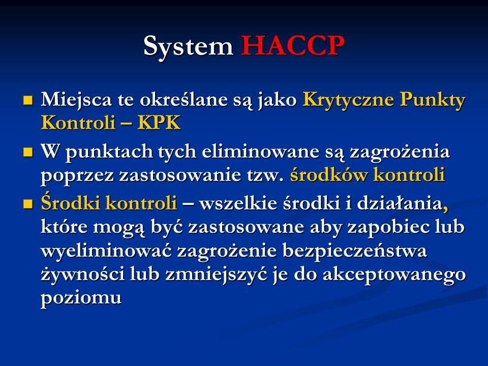 System HACCP Miejsca te określane są jako Krytyczne Punkty Kontroli – KPK Miejsca te określane są jako Krytyczne Punkty Kontroli – KPK W punktach tych
