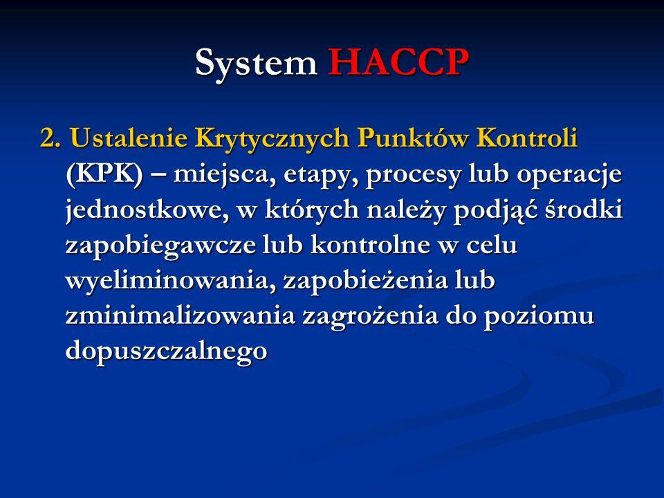 System HACCP 2. Ustalenie Krytycznych Punktów Kontroli (KPK) – miejsca, etapy, procesy lub operacje jednostkowe, w których należy podjąć środki zapobi