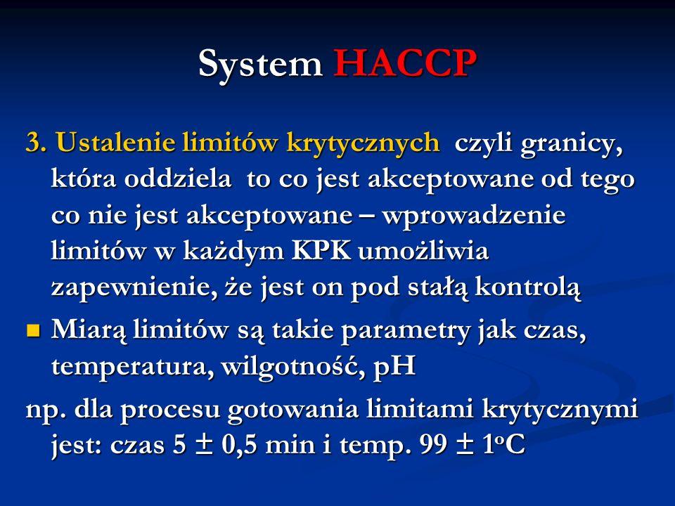 System HACCP 3. Ustalenie limitów krytycznych czyli granicy, która oddziela to co jest akceptowane od tego co nie jest akceptowane – wprowadzenie limi