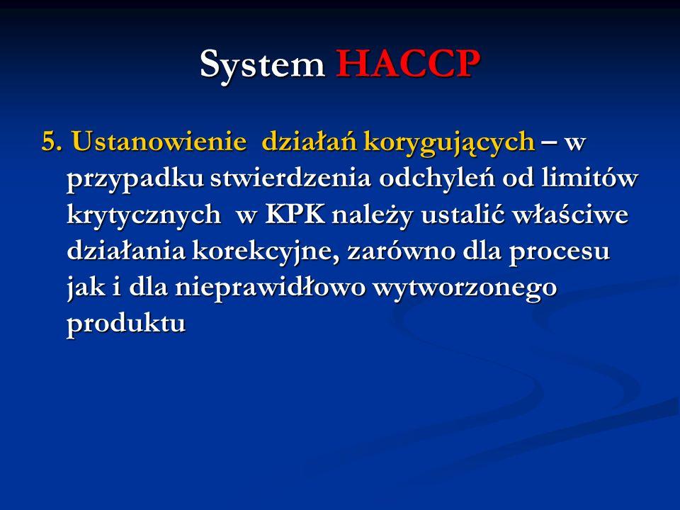 System HACCP 5. Ustanowienie działań korygujących – w przypadku stwierdzenia odchyleń od limitów krytycznych w KPK należy ustalić właściwe działania k