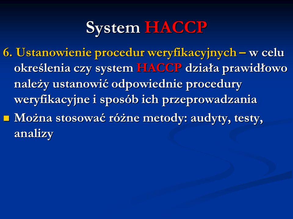 System HACCP 6. Ustanowienie procedur weryfikacyjnych – w celu określenia czy system HACCP działa prawidłowo należy ustanowić odpowiednie procedury we