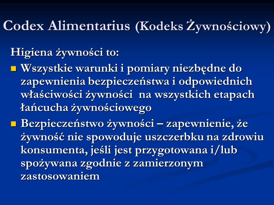 Codex Alimentarius (Kodeks Żywnościowy) Higiena żywności to: Wszystkie warunki i pomiary niezbędne do zapewnienia bezpieczeństwa i odpowiednich właści