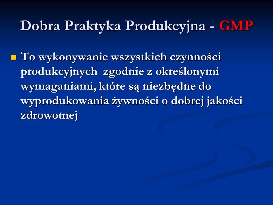 Dobra Praktyka Produkcyjna - GMP To wykonywanie wszystkich czynności produkcyjnych zgodnie z określonymi wymaganiami, które są niezbędne do wyprodukow
