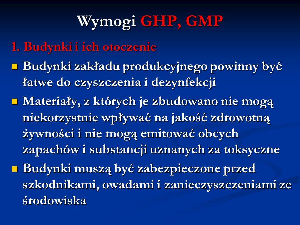 Wymogi GHP, GMP 1. Budynki i ich otoczenie Budynki zakładu produkcyjnego powinny być łatwe do czyszczenia i dezynfekcji Budynki zakładu produkcyjnego