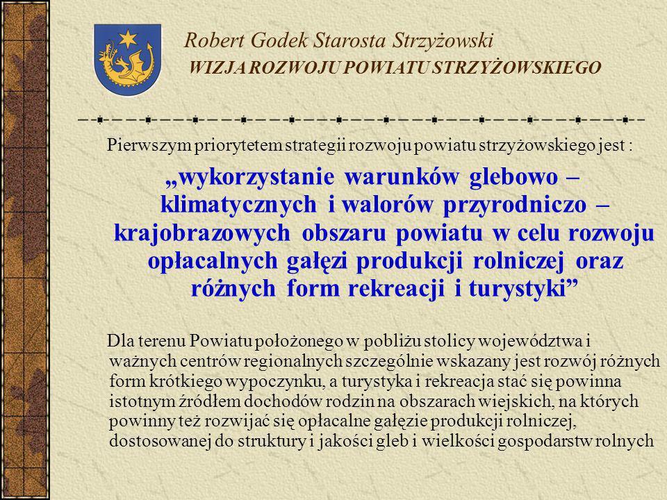 Robert Godek Starosta Strzyżowski WIZJA ROZWOJU POWIATU STRZYŻOWSKIEGO Pierwszym priorytetem strategii rozwoju powiatu strzyżowskiego jest : wykorzyst