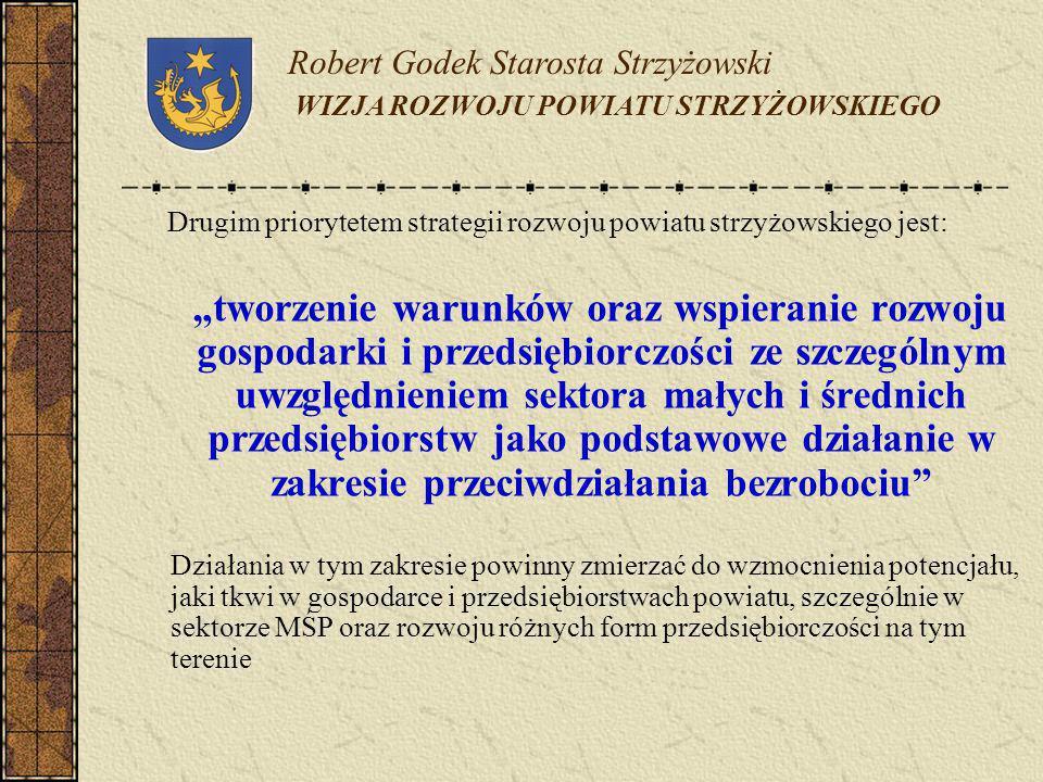 Robert Godek Starosta Strzyżowski WIZJA ROZWOJU POWIATU STRZYŻOWSKIEGO Drugim priorytetem strategii rozwoju powiatu strzyżowskiego jest: tworzenie war
