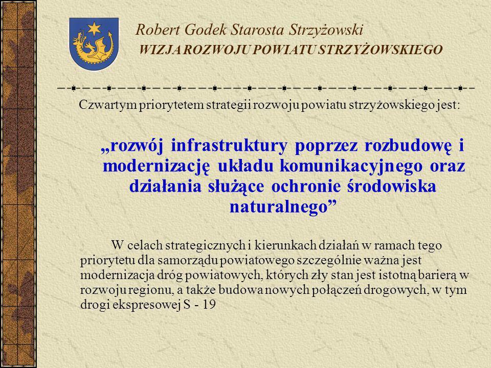 Robert Godek Starosta Strzyżowski WIZJA ROZWOJU POWIATU STRZYŻOWSKIEGO Czwartym priorytetem strategii rozwoju powiatu strzyżowskiego jest: rozwój infr