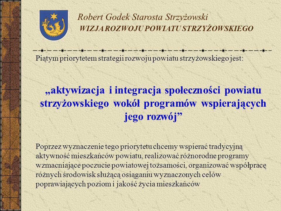 Robert Godek Starosta Strzyżowski WIZJA ROZWOJU POWIATU STRZYŻOWSKIEGO Piątym priorytetem strategii rozwoju powiatu strzyżowskiego jest: aktywizacja i