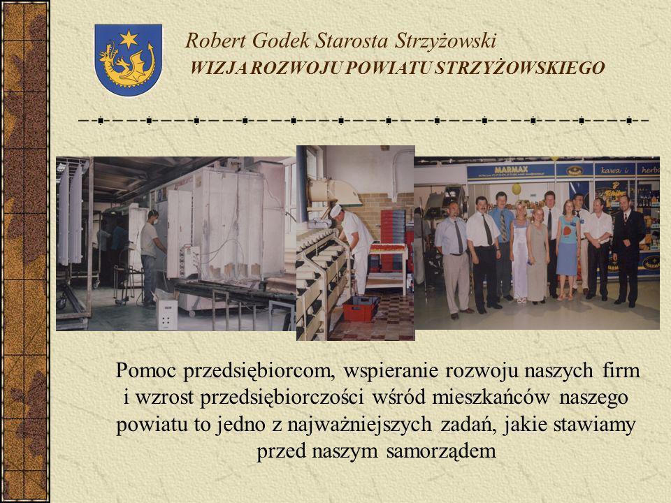 Robert Godek Starosta Strzyżowski WIZJA ROZWOJU POWIATU STRZYŻOWSKIEGO Pomoc przedsiębiorcom, wspieranie rozwoju naszych firm i wzrost przedsiębiorczo