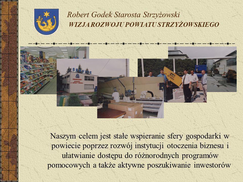 Robert Godek Starosta Strzyżowski WIZJA ROZWOJU POWIATU STRZYŻOWSKIEGO Naszym celem jest stałe wspieranie sfery gospodarki w powiecie poprzez rozwój i