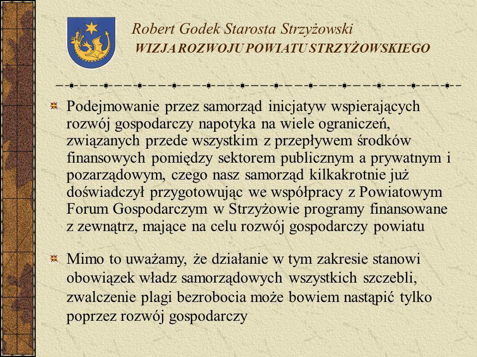 Robert Godek Starosta Strzyżowski WIZJA ROZWOJU POWIATU STRZYŻOWSKIEGO Podejmowanie przez samorząd inicjatyw wspierających rozwój gospodarczy napotyka
